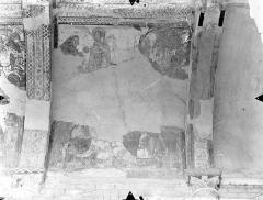 Ancienne église abbatiale - Peinture murale de la nef - Voûte, côté sud : Rencontre d'Abraham et de Melchisédec (registre supérieur). Abraham lègue ses troupeaux à Isaac (registre inférieur)