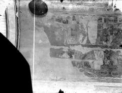 Ancienne église abbatiale - Peinture murale de la nef - Voûte, côté sud : Noé goûte le jus de la vigne (registre supérieur). Triomphe de Joseph (registre inférieur)