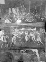 Ancienne église abbatiale - Peinture murale de la crypte (vie des saints Savin et Cyprien) - Versant nord : Les deux saints sont déchirés avec des grilles de fer (registre supérieur).