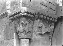 Eglise Saint-Pierre-et-Saint-Paul - Portail de la façade ouest - Chapiteaux, côté gauche : Animaux fantstiques