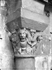 Eglise Saint-Jean de Montierneuf - Chapiteau : Animaux adossés