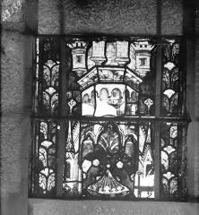 Eglise Saint-Gengoult et son cloître - Vitrail du transept nord, fenêtre B, 1ère lancette à gauche, panneaux au-dessus 3 et 4