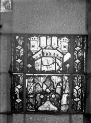Eglise Saint-Gengoult et son cloître - Vitrail du transept nord, fenêtre B, 2ème lancette à gauche, panneaux au dessus 11, 12