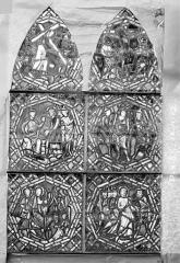 Eglise Saint-Gengoult et son cloître - Vitrail de la petite chapelle absidiale D, panneaux supérieurs des deux lancettes 4, 5, 6, 10, 11, 12