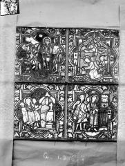 Eglise Saint-Gengoult et son cloître - Vitrail de la petite chapelle absidiale gauche, panneaux inférieurs des deux lancettes 1, 2, 6, 7