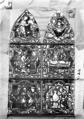 Eglise Saint-Gengoult et son cloître - Vitrail de la petite chapelle absidiale gauche, panneaux supérieurs des deux lancettes 3, 4, 5, 8, 9, 10