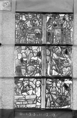 Ancienne cathédrale Saint-Etienne et son cloître - Vitrail de la chapelle absidiale, fenêtre E, les deux lancettes et les six panneaux inférieurs