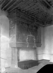 Château et ses dépendances - Salle du 1er étage : Cheminée