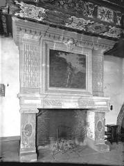 Château et ses dépendances - Salle du 1er étage : Cheminée décorée