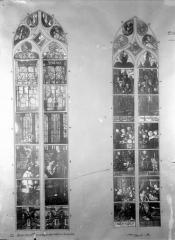 Eglise Saint-Samson - Vitraux, baie II de la chapelle sud après la sacristie et  baie A de la troisième chapelle nord