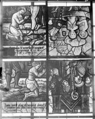 Eglise Saint-Samson - Vitraux, panneau 12 de la baie A, panneau 6 dela baie B, panneaux 7 et 5 de la baie C