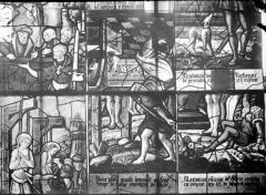Eglise Saint-Samson - Vitraux, panneaux 1, 3, 4, 7, 8 de la baie B et panneau 1 de la baie C