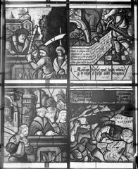 Eglise Saint-Samson - Vitraux, panneau 5 de la baie B et panneaux 3, 6, 8 de la baie C