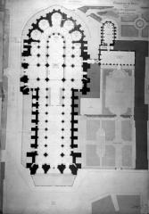 Cathédrale Notre-Dame - Plan, relevé, cathédrale et palais archiépiscopal