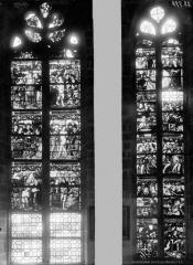Eglise Saint-Mathurin - Vitrail de sainte Barbe et saint Jean, ensemble