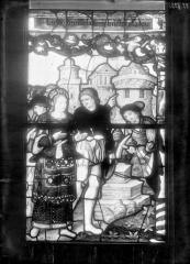 Eglise Saint-Mathurin - Vitrail de sainte Barbe, panneau
