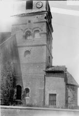 Eglise - Abside et partie inférieure du clocher, au sud