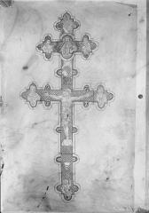 Eglise abbatiale de Blanchefosse (restes) - Croix, reproduction d'un dessin