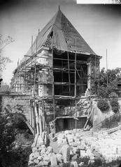 Pavillon de l'Arquebuse - Façade, sur les remparts, pendant la restauration