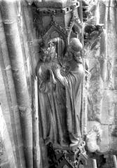Cathédrale Notre-Dame - Portail ouest, voussure de la rose de la grande porte, Sacre de Saül