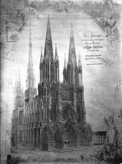 Cathédrale Notre-Dame - Reproduction d'un dessin de P.Dubois, la cathédrale avec ses flèches