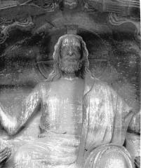 Cathédrale Notre-Dame - Portail nord, buste du Christ présentant les stigmates