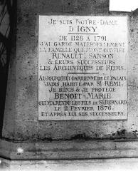 Cathédrale Notre-Dame - Inscription de Notre-Dame d'Igny