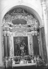 Eglise Saint-Nicolas-de-Myre - Retable, tableau : Purgatoire (Le), statue : saint Joseph et l'Enfant