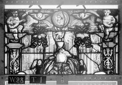 Ensemble archiépiscopal - Vitrail, Chapelle Saint-Joseph, lancette gauche, Légende de saint Romain, cinquième panneau, en haut