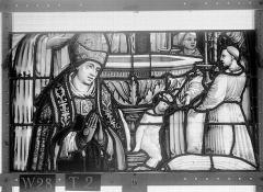 Ensemble archiépiscopal - Vitrail, Chapelle Saint-Joseph, lancette médiane, Légende de saint Romain, troisième panneau, en haut