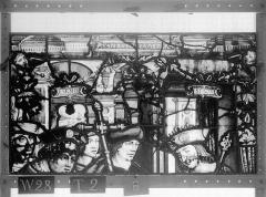 Ensemble archiépiscopal - Vitrail, Chapelle Saint-Joseph, lancette médiane, Légende de saint Romain, cinquième panneau, en haut