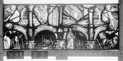 Ensemble archiépiscopal - Vitrail, Chapelle Saint-Joseph, lancette médiane, Légende de saint Romain, huitième panneau, en haut