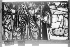 Ensemble archiépiscopal - Vitrail, Chapelle Saint-Joseph, lancette de droite, Légende de saint Romain, troisième panneau, en haut