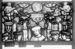 Ensemble archiépiscopal - Vitrail, Chapelle Saint-Joseph, lancette de droite, Légende de saint Romain, cinquième panneau, en haut