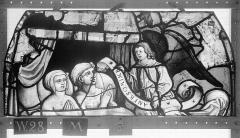Ensemble archiépiscopal - Vitrail, Chapelle Saint-Joseph, tympan supérieur, Légende de saint Romain, deuxième panneau, en haut