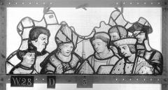 Ensemble archiépiscopal - Vitrail, Chapelle Saint-Joseph, tympan gauche, Légende de saint Romain, premier panneau, en haut