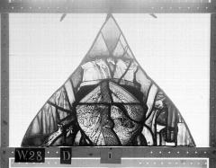 Ensemble archiépiscopal - Vitrail, Chapelle Saint-Joseph, tympan gauche, Légende de saint Romain, troisième panneau, en haut