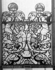 Ensemble archiépiscopal - Vitrail, Chapelle Saint-Joseph, Vie de saint Romain, lancette de gauche, premier panneau, en haut