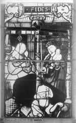 Ensemble archiépiscopal - Vitrail, Chapelle Saint-Joseph, Vie de saint Romain, lancette de gauche, deuxième panneau, en haut