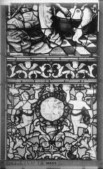 Ensemble archiépiscopal - Vitrail, Chapelle Saint-Joseph, Vie de saint Romain, lancette de gauche, troisième panneau, en haut