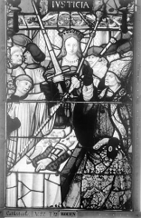 Ensemble archiépiscopal - Vitrail, Chapelle Saint-Joseph, Vie de saint Romain, lancette médiane, deuxième panneau, en haut
