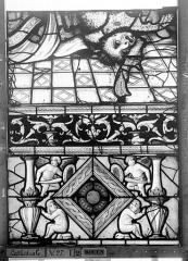 Ensemble archiépiscopal - Vitrail, Chapelle Saint-Joseph, Vie de saint Romain, lancette médiane, cinquième panneau, en haut