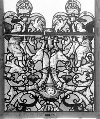 Ensemble archiépiscopal - Vitrail, Chapelle Saint-Joseph, Vie de saint Romain, lancette de droite, premier panneau, en haut