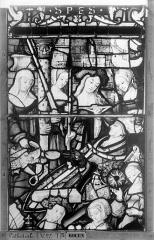 Ensemble archiépiscopal - Vitrail, Chapelle Saint-Joseph, Vie de saint Romain, lancette de droite, quatrième panneau, en haut