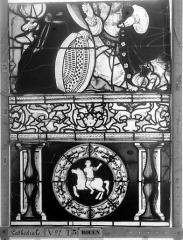 Ensemble archiépiscopal - Vitrail, Chapelle Saint-Joseph, Vie de saint Romain, lancette de droite, cinquième panneau, en haut