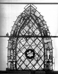 Ensemble archiépiscopal - Vitrail, Chapelle Jeanne d'Arc, Baptême de saint jean, baie 38, premier panneau, en haut