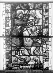 Ensemble archiépiscopal - Vitrail, Chapelle Jeanne d'Arc, Baptême de saint jean, baie 38, sixième panneau, en haut