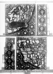 Ensemble archiépiscopal - Vitrail, Chapelle Jeanne d'Arc, la Vierge et l'Enfant, saint jean, baie 36, quatrième panneau, en haut