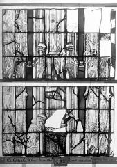 Ensemble archiépiscopal - Vitrail, Chapelle Jeanne d'Arc, la Vierge et l'Enfant, saint jean, baie 36, huitième panneau, en haut