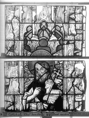 Ensemble archiépiscopal - Vitrail, Chapelle Jeanne d'Arc, la Vierge et l'Enfant, saint jean, baie 36, dixième panneau, en haut